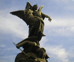 A beautiful statue of a flying angel in Argentina