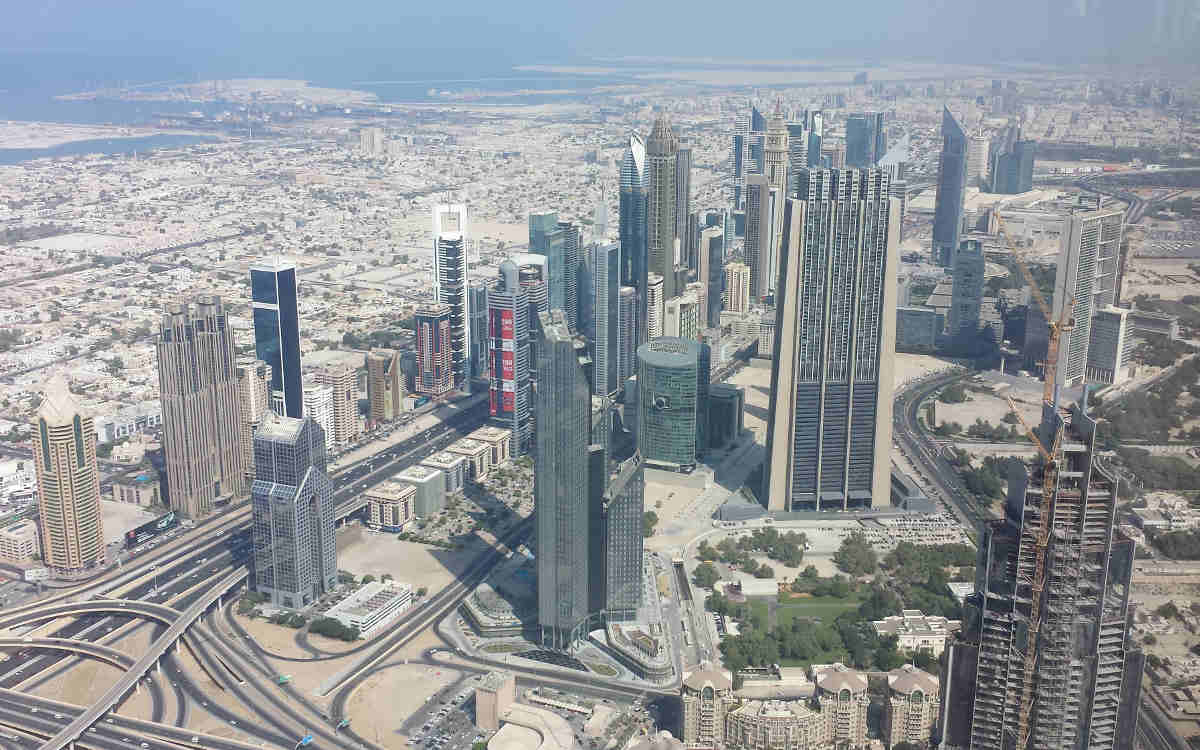 A picture taken from the top of the Burj Khalifa