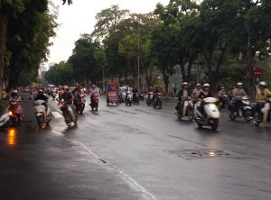 Scooter Traffic on the Streets of Hanoi