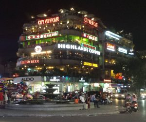 A night picture of the city view cafe in Hanoi