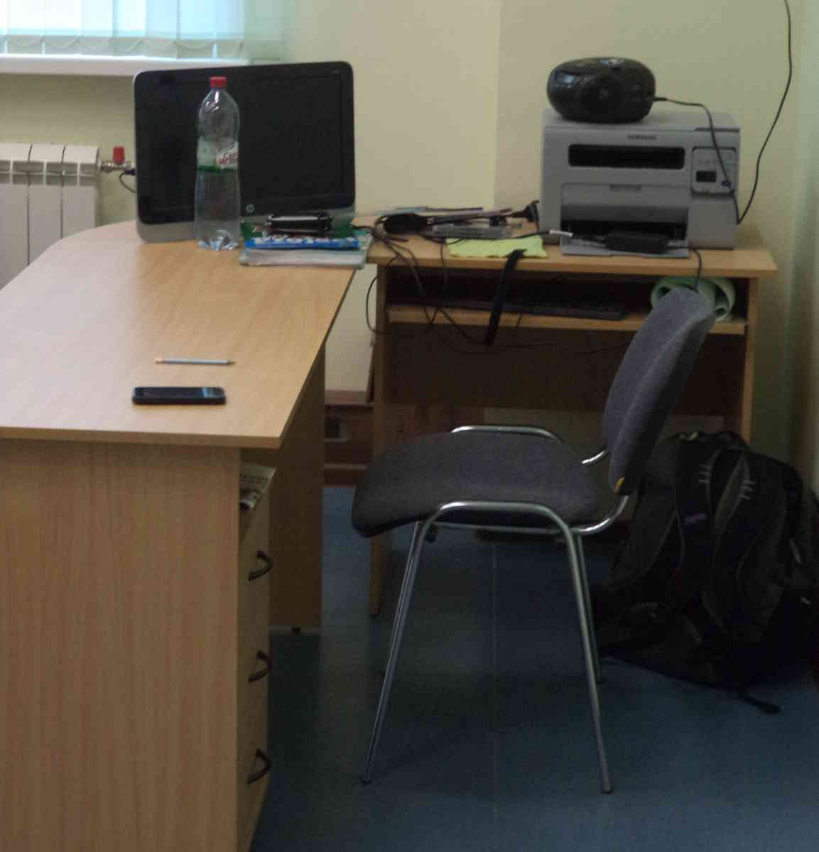 My desk where I worked at a Russian public school
