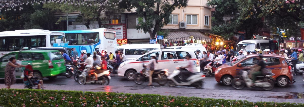 A picture of rush hour in Hanoi, Vietnam