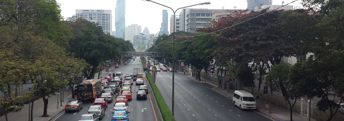 A road in Bangkok with traffic on it