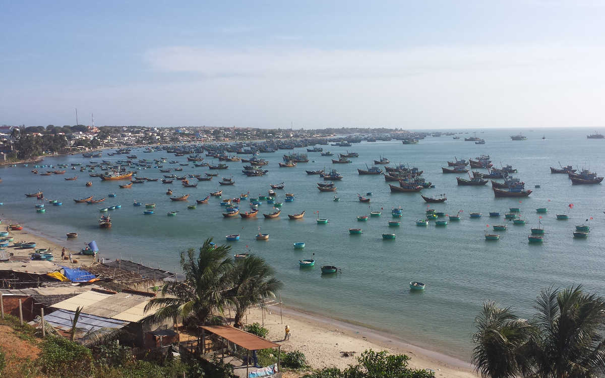 Boats sitting in Mui Ne Harbor