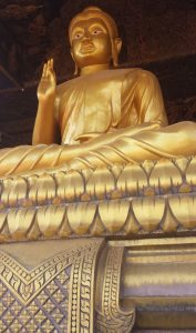 A large golden Buddha at the international buddhist center in Cambodia