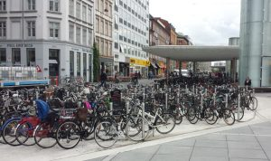 A bike parking lot in Copenhagen