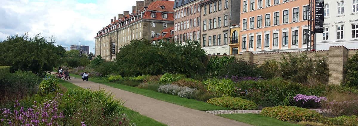 A row of houses along the park in Copenhagen