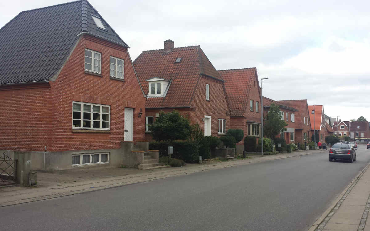 A row of houses in Middelfart Denmark