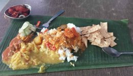 A picture of food on a leaf plate in Malacca Malaysia